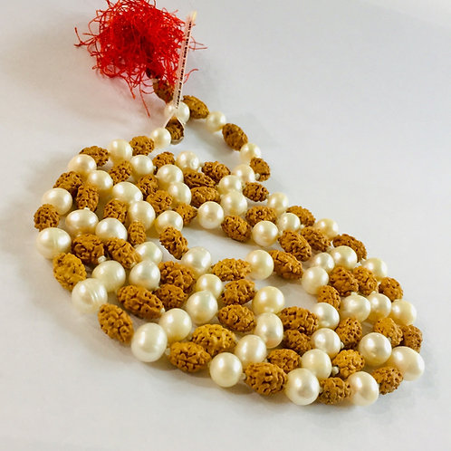 2 Mukhi Rudraksha With Pearl Mala