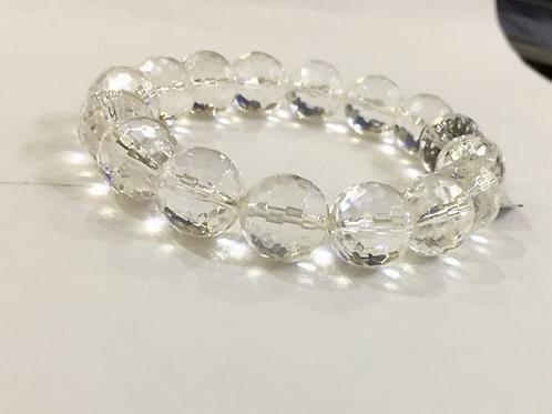 Natural Unlied Crystal Clear Quartz/ Sphatik Bracelet