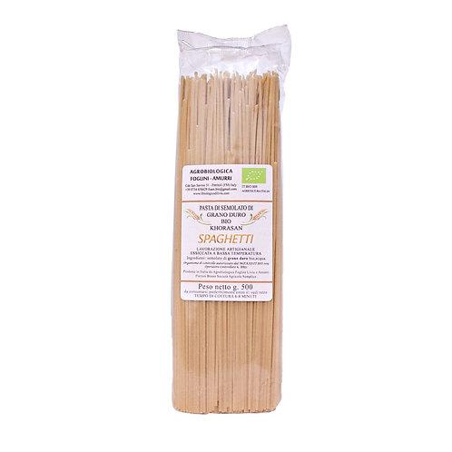 Spaghetti di Saragolla Turchesco khorasan (semola integrale bio) confez. 0,5 kg