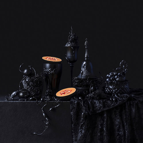 Still Life in Black and Cantaloupe