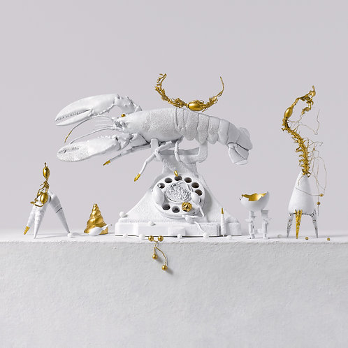 Still Life in White and Gold with Dali's Lobster Telephone