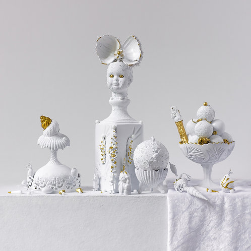 Still Life in White and Gold with Butterfly