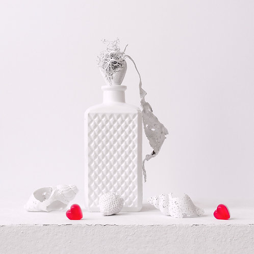 Still Life in White with Two Hearts