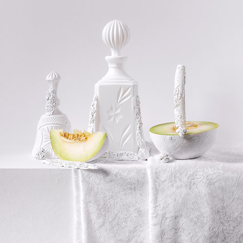 Still Life in White with Melons