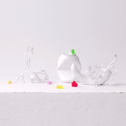 Still Life in White with Heart and Sweets