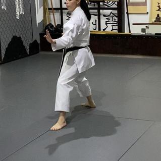 9. Shuto uke, Védő állás haladás Shuto ukéval védő állásban