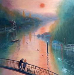 Summer Morning..Twickenham. oil on canvas