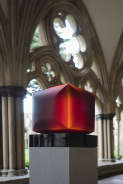 Red cube displayed at Salisbury Cathedral