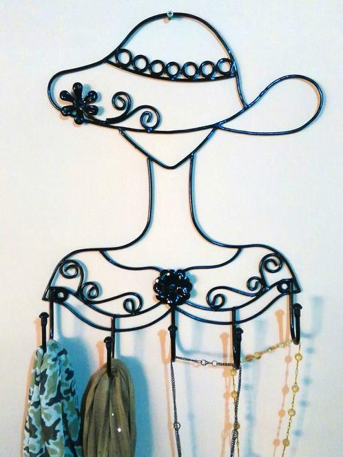 Perchero de pared dama con sombrero imagina en hierro - Decoracion forja pared ...