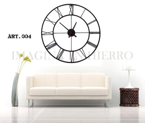 Reloj de pared vintage industrial en metal 90 cm imagina for Reloj de pared vintage 60cm