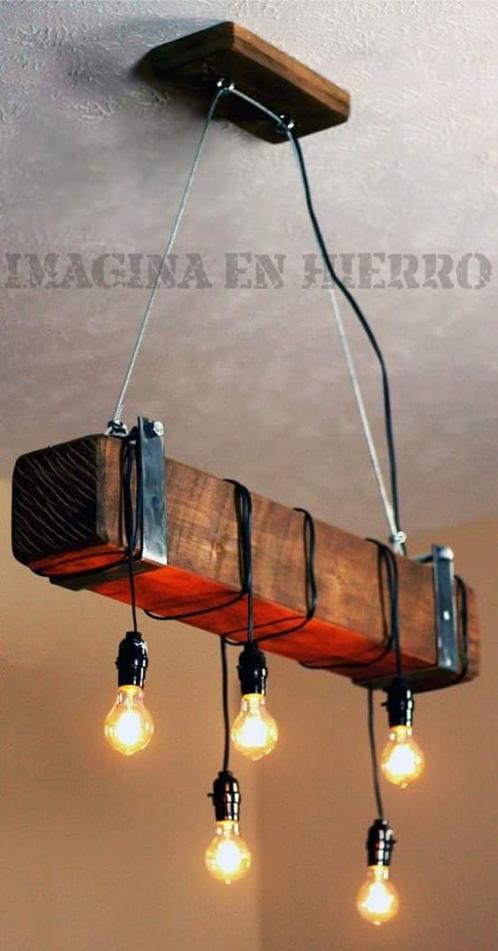 L mpara colgante industrial r stica imagina en hierro - Lamparas industriales colgantes ...