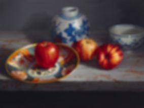 Three Apples wih Vase | Sarah van der Helm | Contemporary Realism