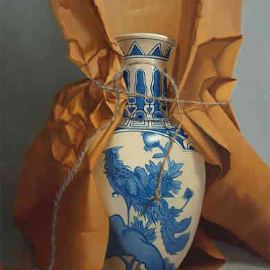Oriental Vase in Brown Paper