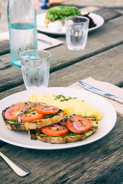 Blue swimmer omelette close up