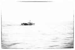 Mussel boat passing Black Rocks, Portarl