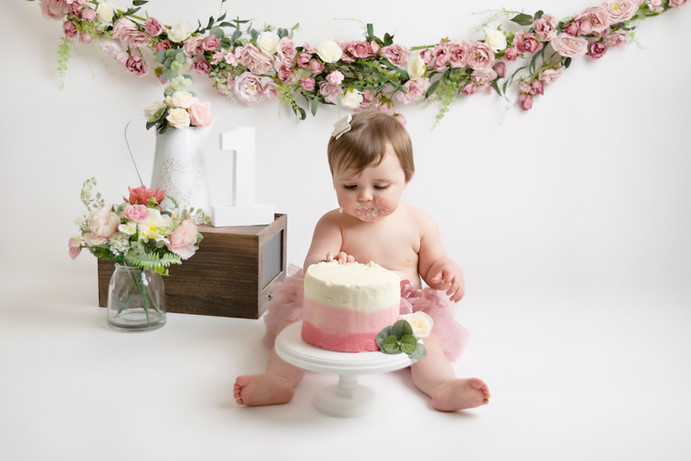 pink and cream baby girls birthday cake smash photo photos photoshoot photographer newport, cwmbran, monmouthshire south wales