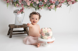 pink and grey buttercream baby girls birthday cake smash photo photos photoshoot photographer newport, cwmbran, monmouthshire south wales