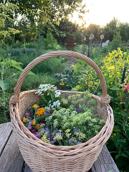 a basket of spring blooms