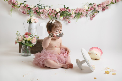 baby girls pink floral birthday cake smash photo photos photoshoot photographer newport, cwmbran, monmouthshire south wales