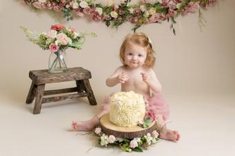 cream rustic baby girls birthday cake smash photo photos photoshoot photographer newport, cwmbran, monmouthshire south wales