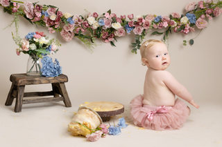 baby girl birthday cake smash rustic flowers photos photographer newport cwmbran monmouthshire south wales