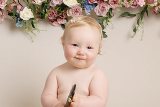 baby girl pink and blue cake smash photos photoshoot photographer newport cwmbran monmouth monmouthsire south wales
