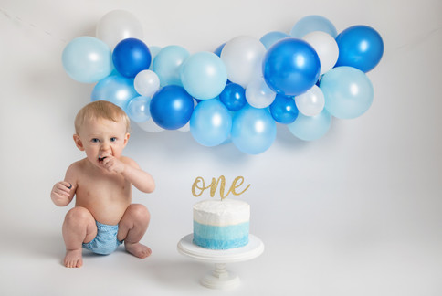 blue and white baby birthday cake smash photo photos photoshoot photographer newport, cwmbran, monmouthshire south wales