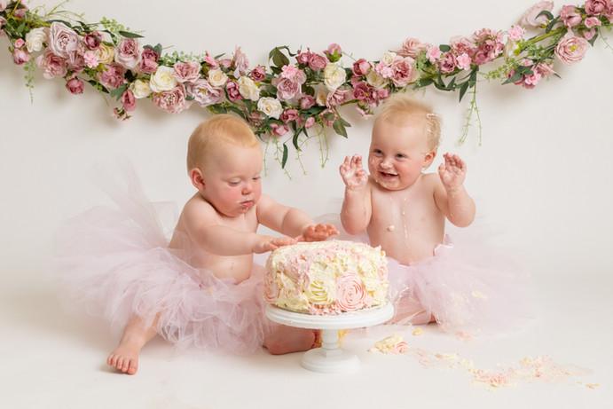 twin baby girls birthday cake smash photo photos photoshoot photographer newport, cwmbran, monmouthshire south wales