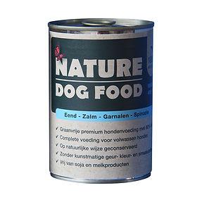 blikvoer voor honden nature dog food eend & zalm