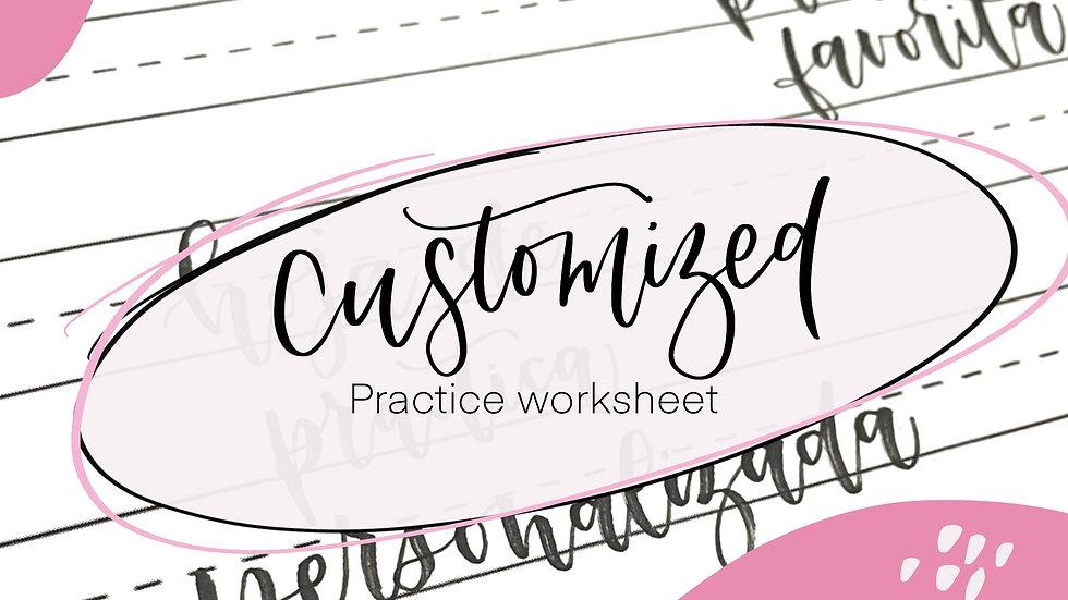 Hand lettering practice worksheet customized Practice your favorite words Practi