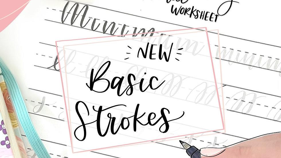 New Handlettering practice worksheet Basic strokes