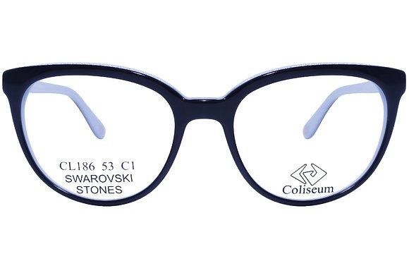 Montatura vista  COLISEUM CL186  001  53  18  con lenti protezione LUCE BLU