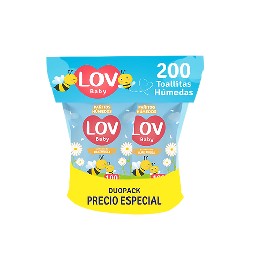Pañitos Manzanilla DUOPACK 200 unid-(Caja 9 paquetes)