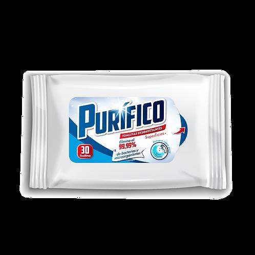 Toalla desinfectantes Purifico TRIPACK 90 unid-(Caja 12 paquetes)