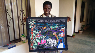 A Special Order tappestry done by the Kibeho Embroidery Project Coordinator, Martha Mukamana.