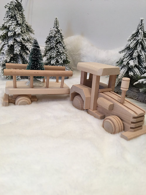 Beech wood Tractor and trailer
