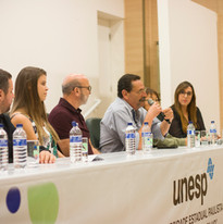 Mesa composta pelo porprietário Marcio Janjacomo, equipe técnica e docentes colaboradores para responder perguntas dos convidados
