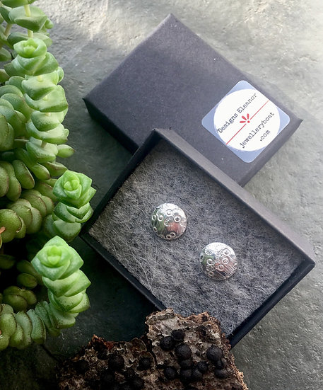 Sterling silver studs, domed, barnacle patterned