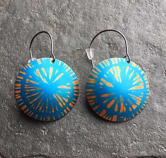Anodised Aluminium Earrings Tangerine/Turquoise