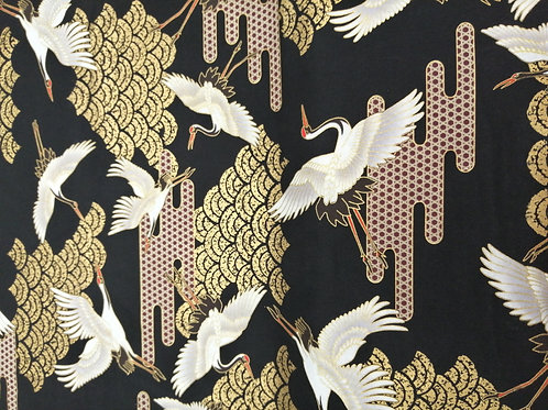 Japanese Cotton black and gold crane design