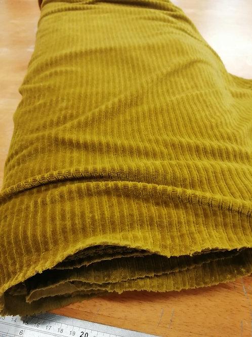 Ribbed velvet jersey olive green