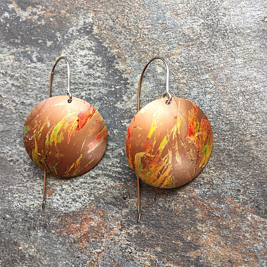 Anodised Aluminium Earrings Autumn Colours (large)