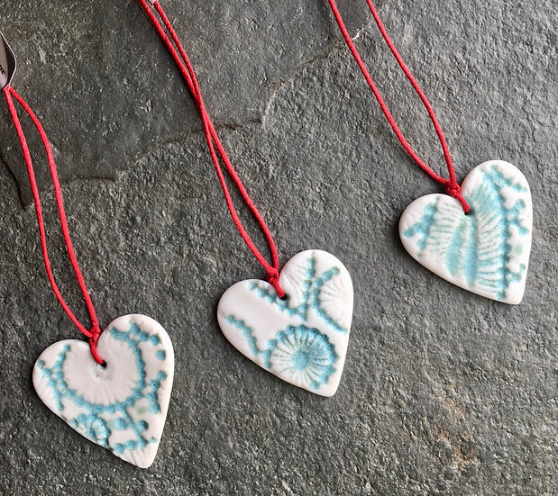 Three hugs in a box - 3 porcelain hearts aqua and white
