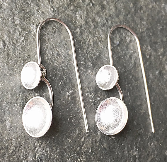 Gather River Breath: Silver cup dangle earrings
