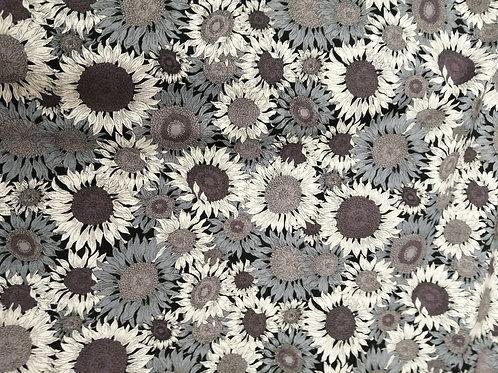 Japanese Cotton grey sunflower print