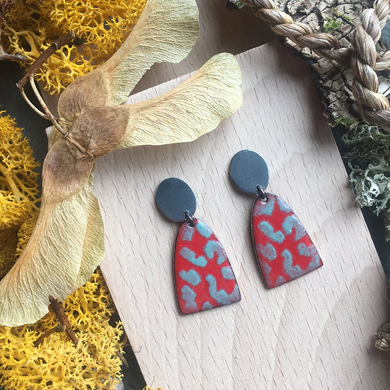 SOLD Oxidised silver and enamel earrings - Lichen inspired