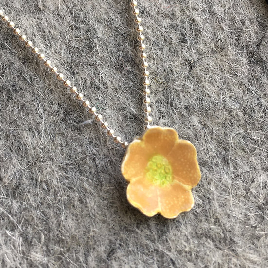 Enamel flower necklace - Apricot enamel on silver Eleanor Watson 2020 Forget-me-not Collection