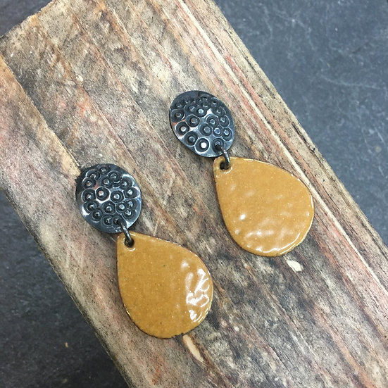 Mustard and Granite - drop earrings - Abney Park Collection 2020