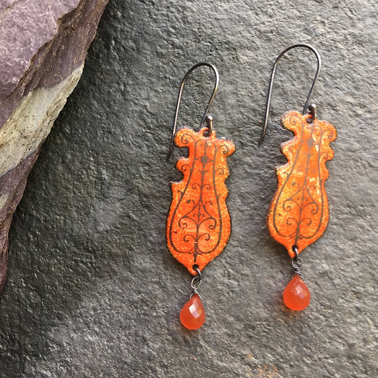 Beautiful Cages Collection 2020 Eleanor Watson enamelled drop earrings with semi precious stones