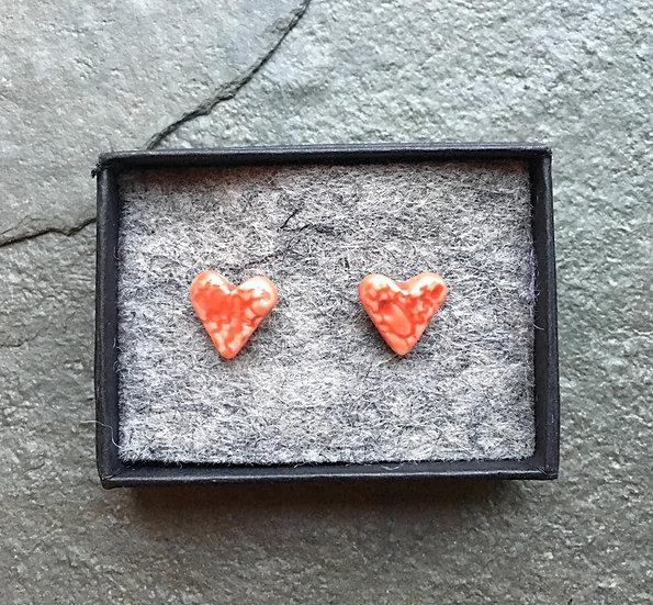 Love Heart stud earrings-red porcelain